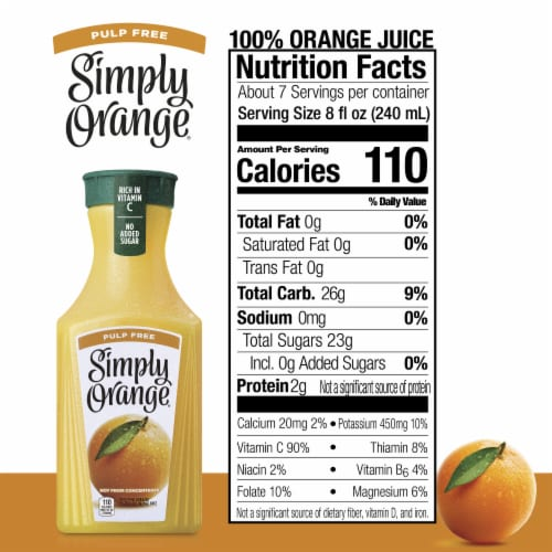 Simply Orange Pulp Free Orange Juice Perspective: back
