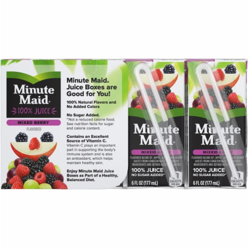 Minute Maid Mixed Berry Juice Boxes Perspective: back