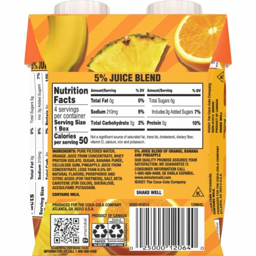 Minute Maid Super Smoothies Orange Pineapple Smoothies Perspective: back
