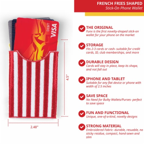 French Fries Shaped Stick-On Phone Wallet Perspective: back