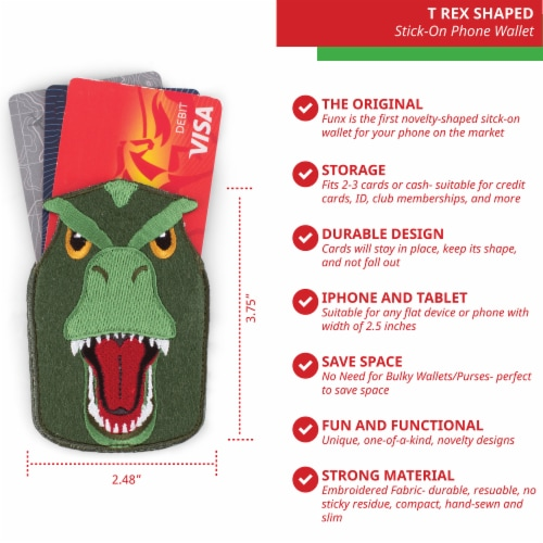 T Rex Shaped Stick-On Phone Wallet Perspective: back