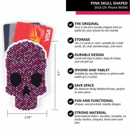 Pink Skull Shaped Stick-On Phone Wallet Perspective: back