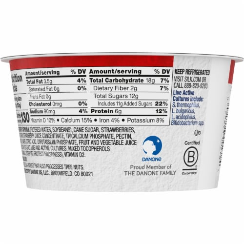 Silk® Strawberry Dairy-Free Soy Yogurt Alternative Perspective: back