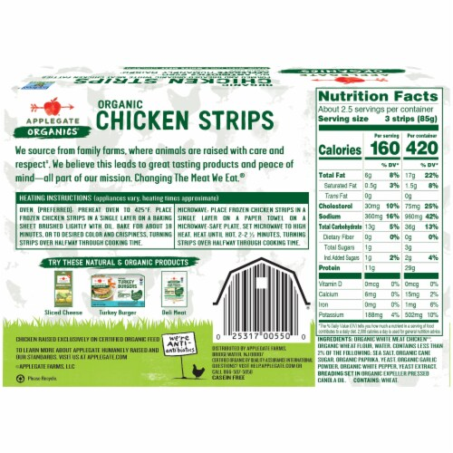 Applegate Organic Chicken Strips Perspective: back