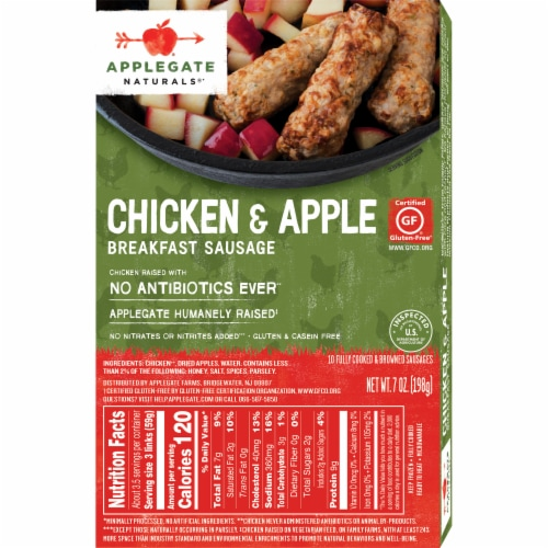 Applegate Natural Chicken & Apple Breakfast Sausage 10 Count Perspective: back