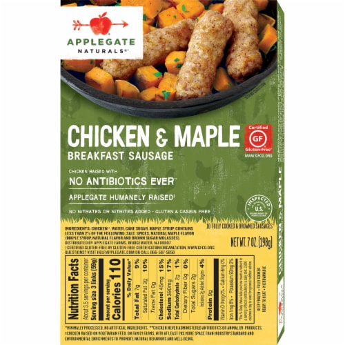 Applegate Natural Chicken & Maple Breakfast Sausage Perspective: back
