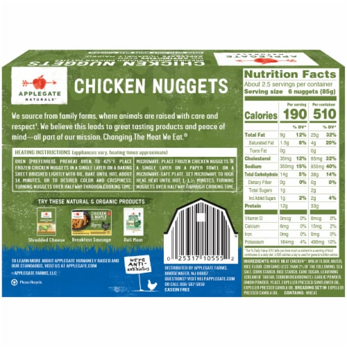 Applegate Naturals Chicken Nuggets Perspective: back