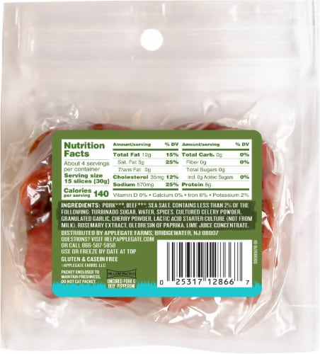 Applegate Naturals Uncured Pork & Beef Pepperoni Perspective: back