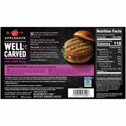 Applegate Well Carved Organic Turkey Burgers 4 Count Perspective: back