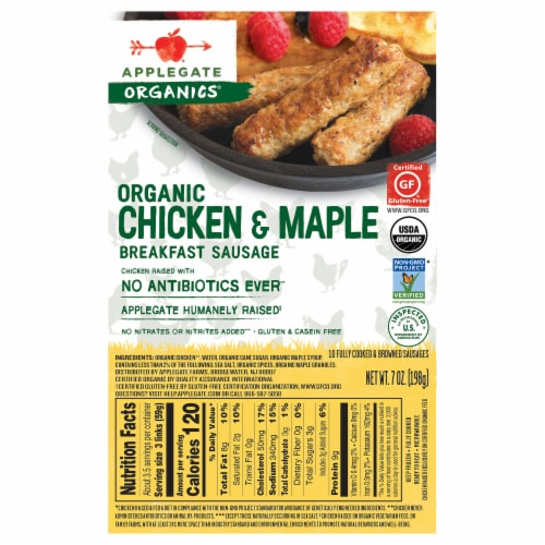 Applegate Organic Chicken & Maple Breakfast Sausage 10 Count Perspective: back