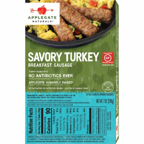 Applegate Naturals Savory Turkey Breakfast Sausage Links 10 Count Perspective: back