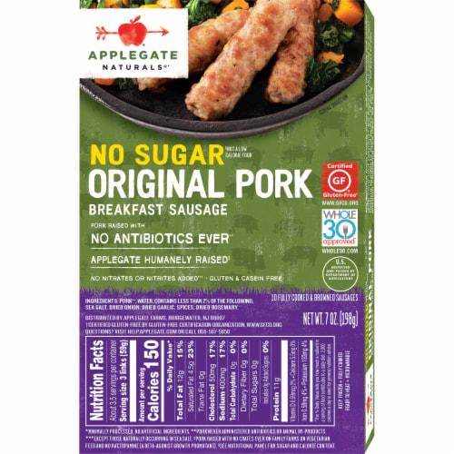Applegate Naturals® No Sugar Original Pork Breakfast Sausage Perspective: back