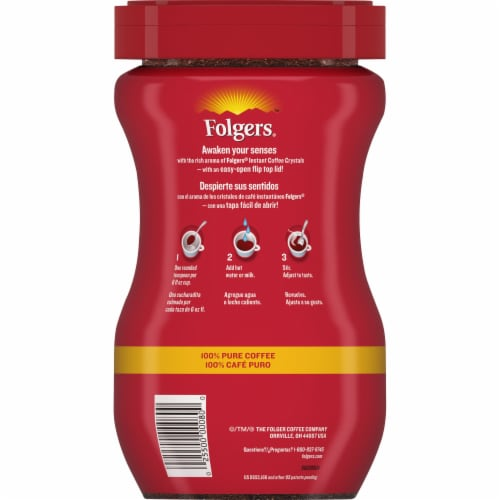 Folgers Classic Roast Instant Coffee Crystals Perspective: back