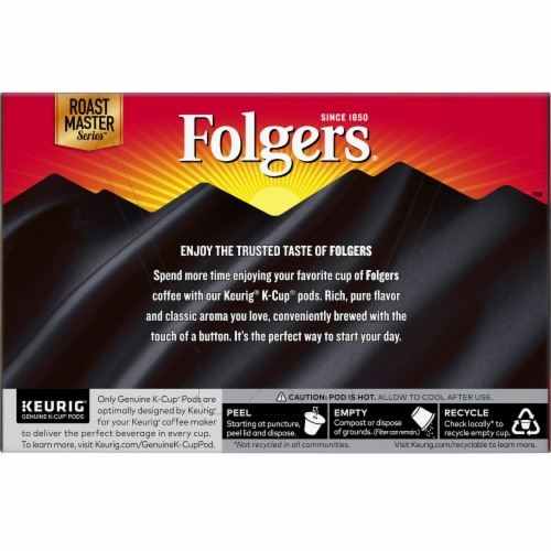 Folgers Gourmet Selections Black Silk Dark Roast Coffee K-Cup Pods Perspective: back