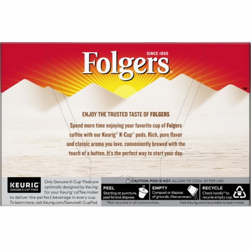 Folgers Gourmet Selections Caramel Drizzle Coffee K-Cup Pods Perspective: back
