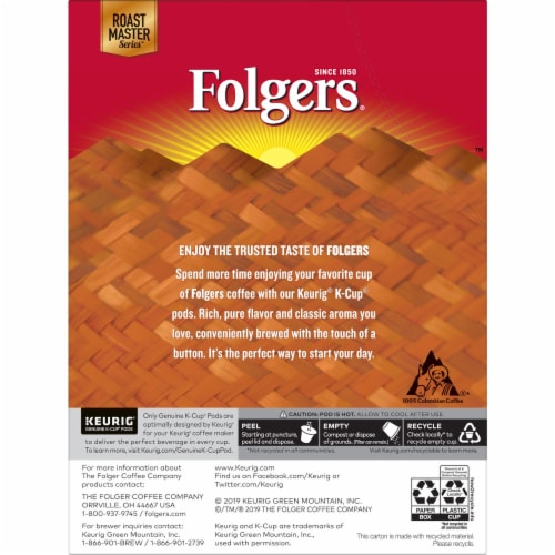 Folgers 100% Colombian Medium Roast Coffee K-Cup Pods Perspective: back