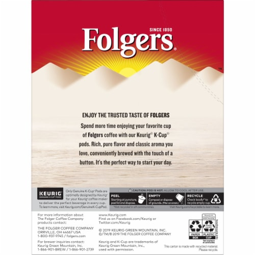 Folgers Vanilla Biscotti Flavored Coffee K-Cup Pods Perspective: back