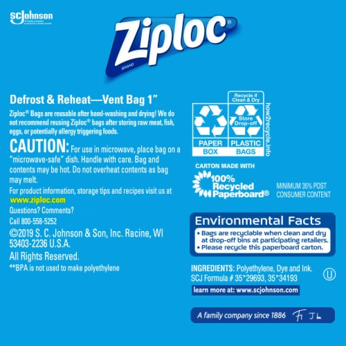 Ziploc Storage Quart Bags Perspective: back