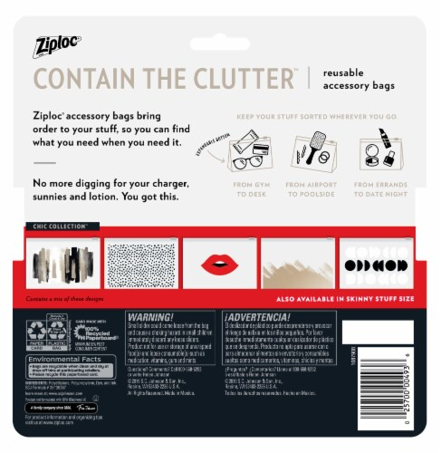 Ziploc Chic Collection Reusable Essential Accessory Bags Perspective: back