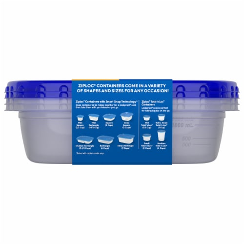 Ziploc Smart Snap Rectangle Food Storage Containers - 2 Pack Perspective: back