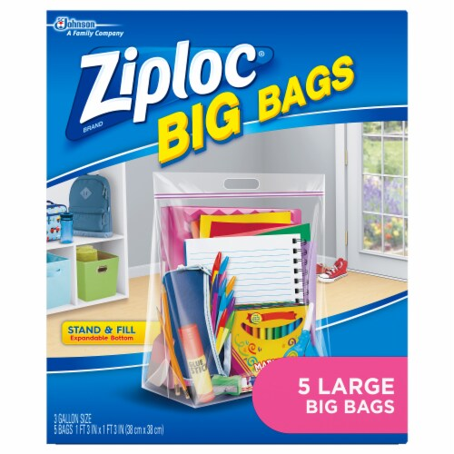 Ziploc® Large Big Bags Storage Bags - Clear Perspective: back