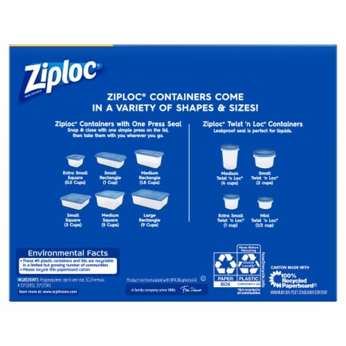 Ziploc One Press Seal Rectangular 8 Oz Storage Containers & Lids Perspective: back