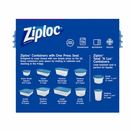 Ziploc One Press Seal 1.75 Pt Round Storage Container & Lids - Clear/Blue Perspective: back
