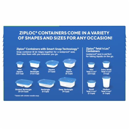 Ziploc One Press Seal Small Square Storage Containers & Lids - Clear/Blue Perspective: back