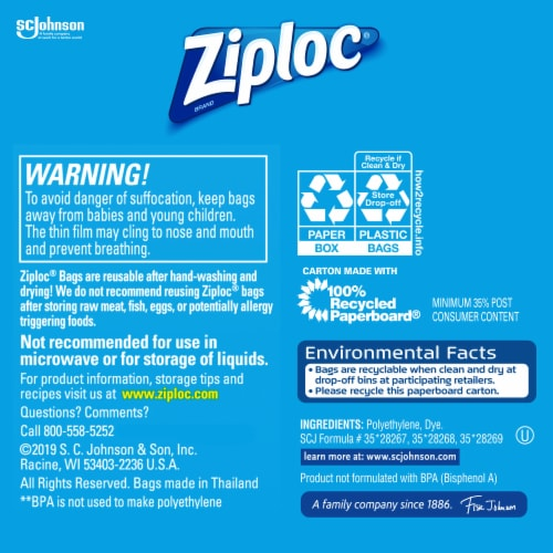 Ziploc Sandwich & Snack Lunch Pack Bags Perspective: back
