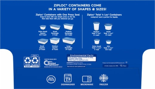 Ziploc Twist n Lock Small Containers Perspective: back