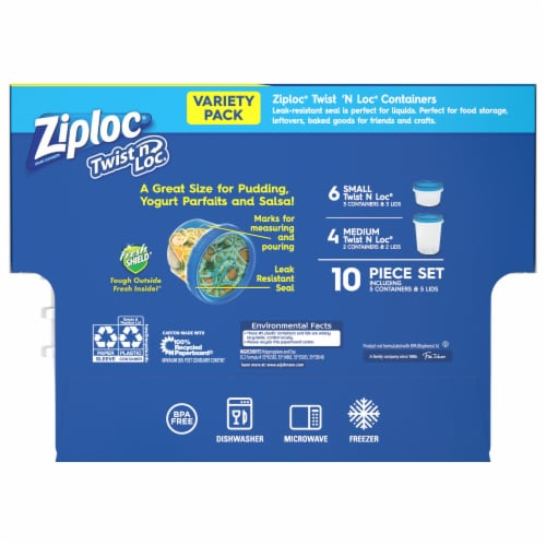 Ziploc Twist n Loc Value Pack Containers and Lids Perspective: back