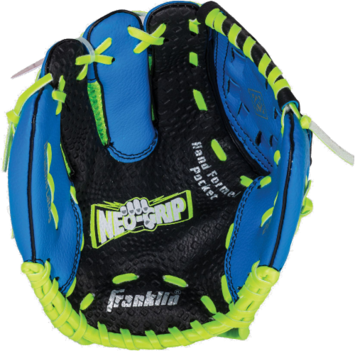 Franklin Neo-Grip® Series Baseball Glove and Ball Set - Blue/Lime Green Perspective: back