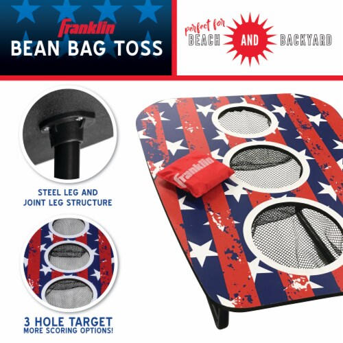 Franklin USA 3-Hole Bean Bag Toss Yard Game – Red/White/Blue Perspective: back