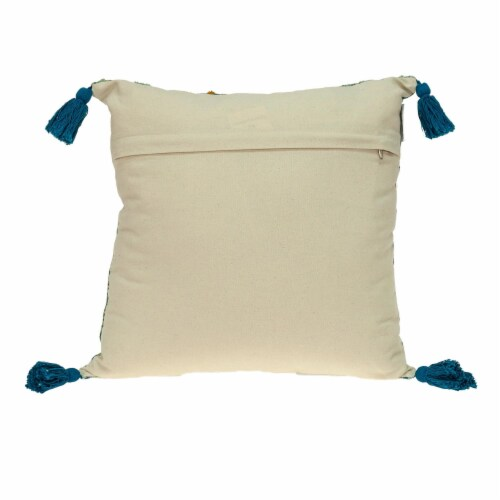 Parkland Collection Lotus Transitional Teal Throw Pillow Perspective: back