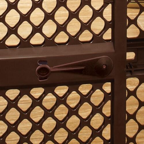 MyPet 8739 Essential Pet Gate Wide Doorway Dog Gate, Brown Perspective: back