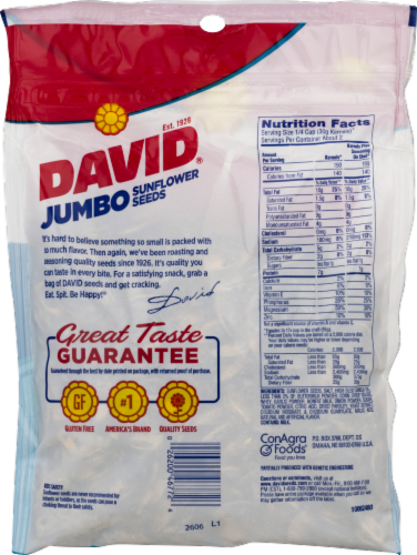 David Salted & Roasted Ranch Jumbo Sunflower Seeds Perspective: back