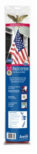 Annin Flagmakers American Flag Set with Steel Pole Perspective: back