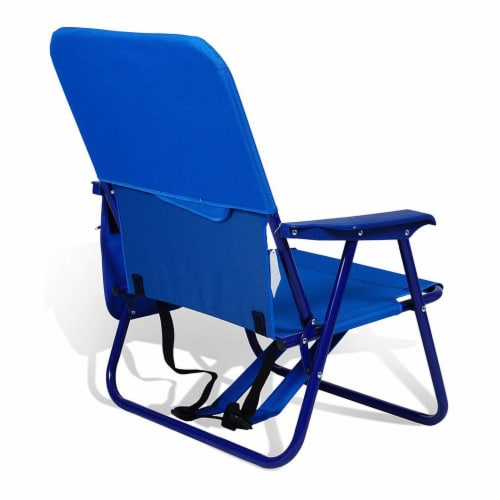 Copa Backpack Single Position Folding Aluminum Beach Lounge Chair, Dark Blue Perspective: back