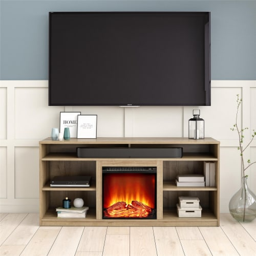 RealRooms Vesta Fireplace TV Stand for TVs up to 65 , Natural Perspective: back