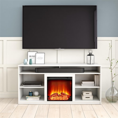 RealRooms Vesta Fireplace TV Stand for TVs up to 65 , White Perspective: back