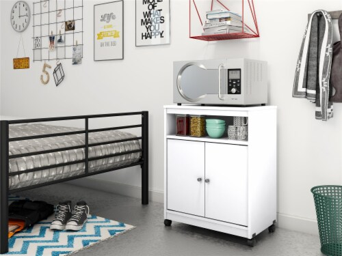 Landry Microwave Cart, White Perspective: back