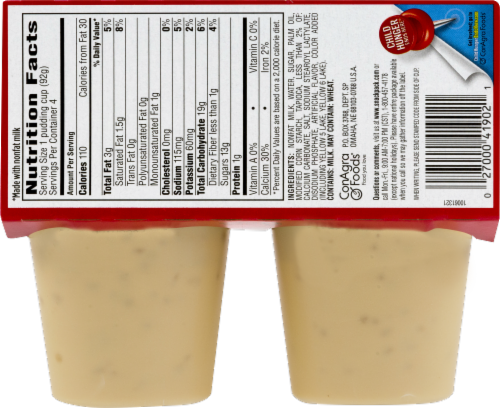 Snack Pack Tapioca Pudding Cups Perspective: back