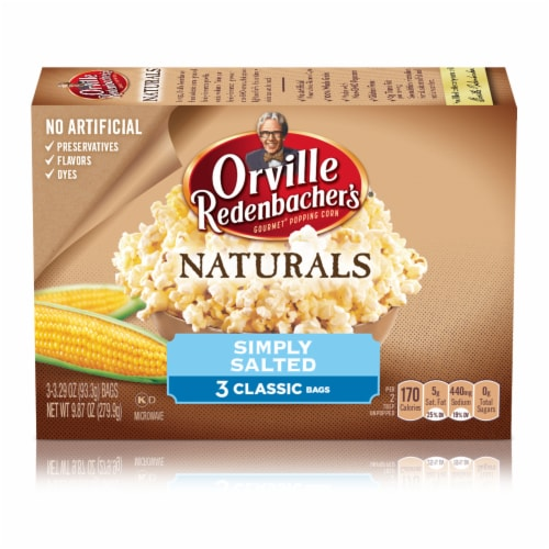 Orville Redenbacher's Naturals Simply Salted Popcorn Bags 3 Coiunt Perspective: back