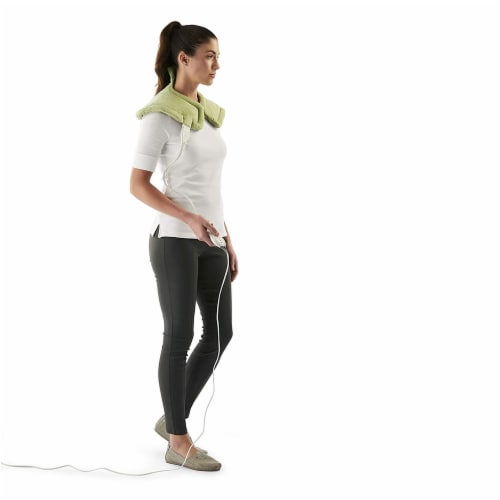 Sunbeam Renue Heated Therapy Wrap for Neck & Shoulder Pain Relief - Sage Green Perspective: back