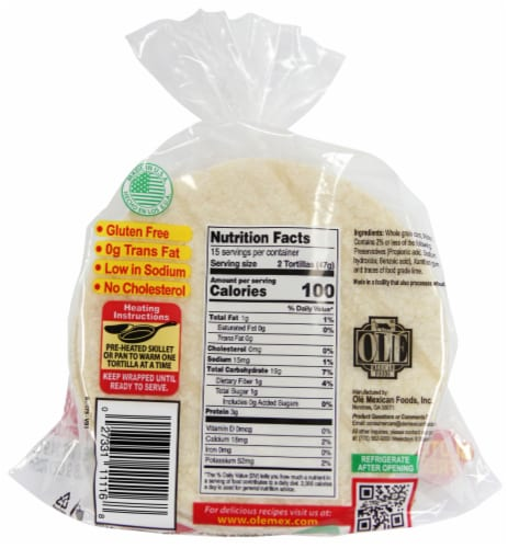 La Banderita White Corn Tortillas 30 Count Perspective: back