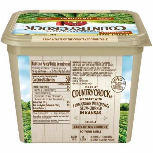 Country Crock Original Vegetable Oil Spread Family Size Perspective: back
