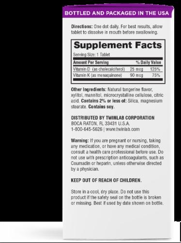 Twinlab D3 K2 Dots 1000 Vitamins Tablets Perspective: back