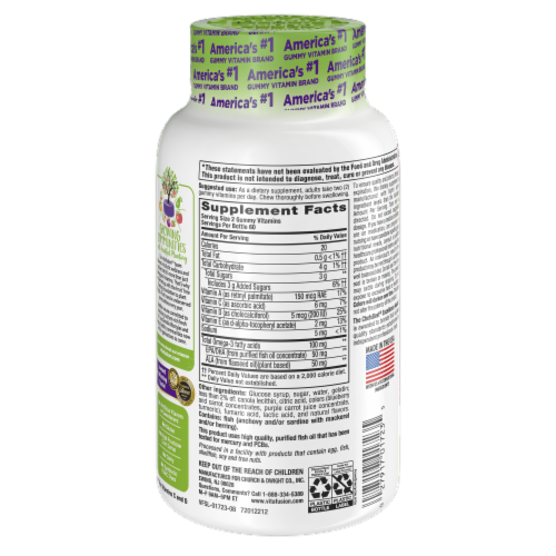 Vitafusion Omega-3 Natural Berry Lemonade Flavor Gummies 100mg Perspective: back