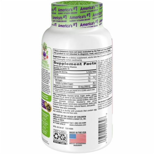 Vitafusion Vitamin D3 Natural Peach & Berry Flavored Gummies 2000IU 150 Count Perspective: back