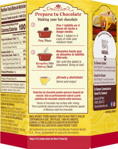 Nestle Abuelita Authentic Mexican Hot Chocolate Drink Tablets Perspective: back